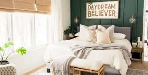 How to Decorate a Green Accent Wall in the Bedroom