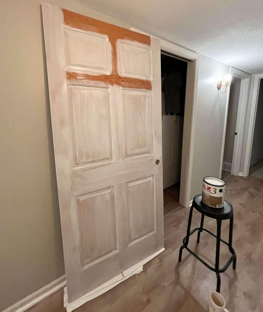priming interior doors.