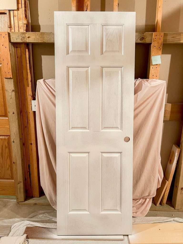 Spray painted interior door.