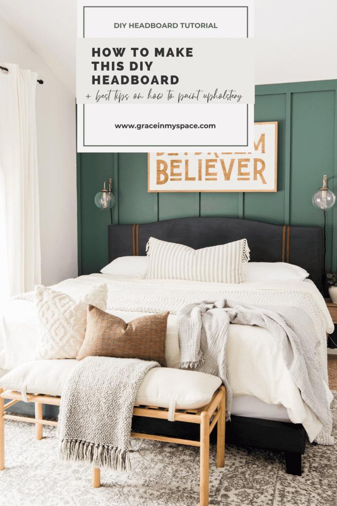 Painted DIY Upholstered Bed Frame Makeover
