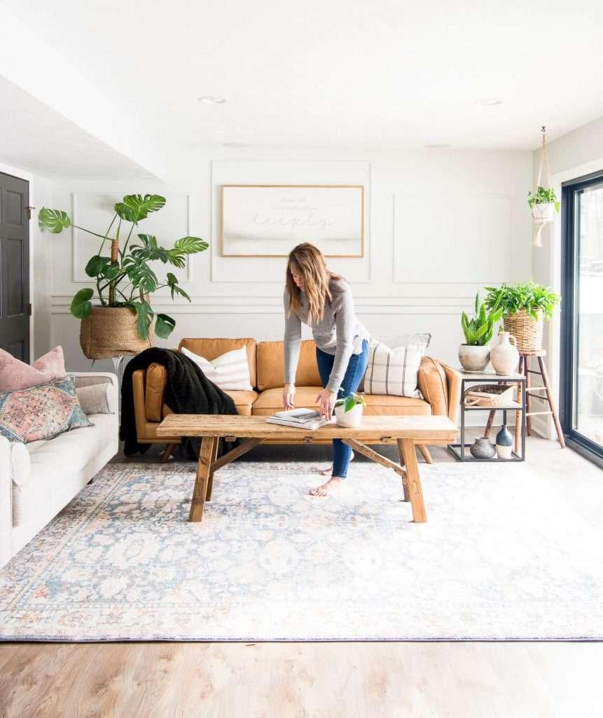 Modern farmhouse basement sofa