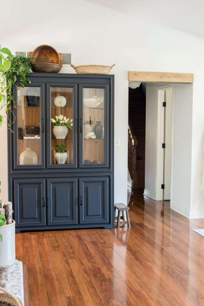 Painted black cabinet.