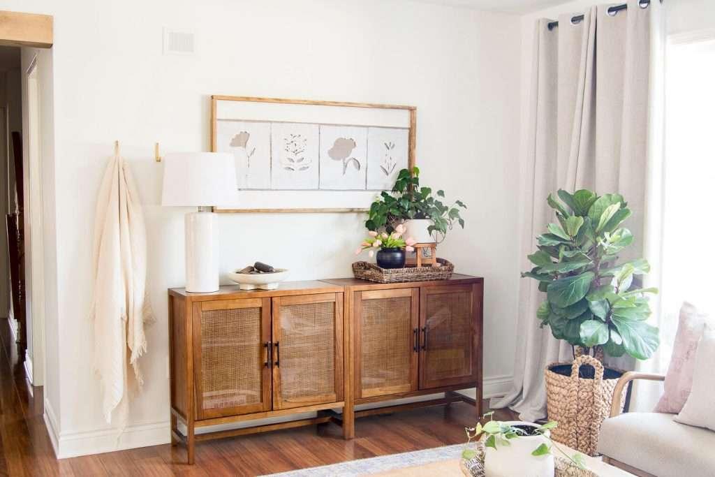 DIY textile artwork hanging in a living room