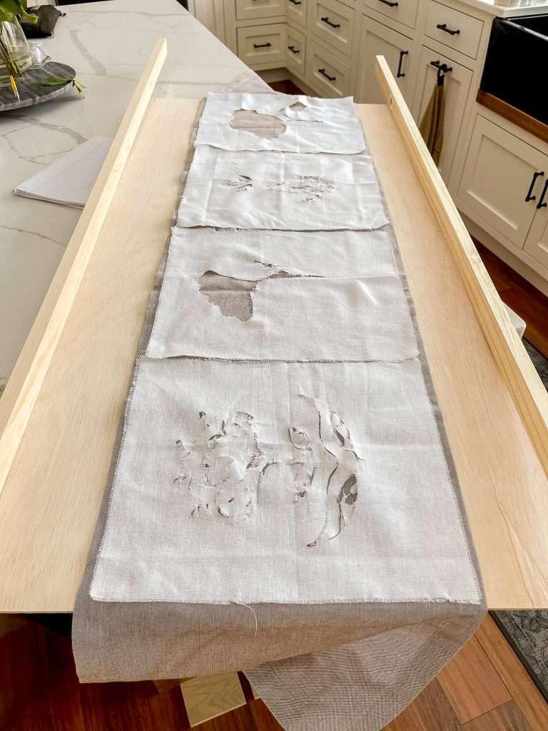 DIY textile artwork framed