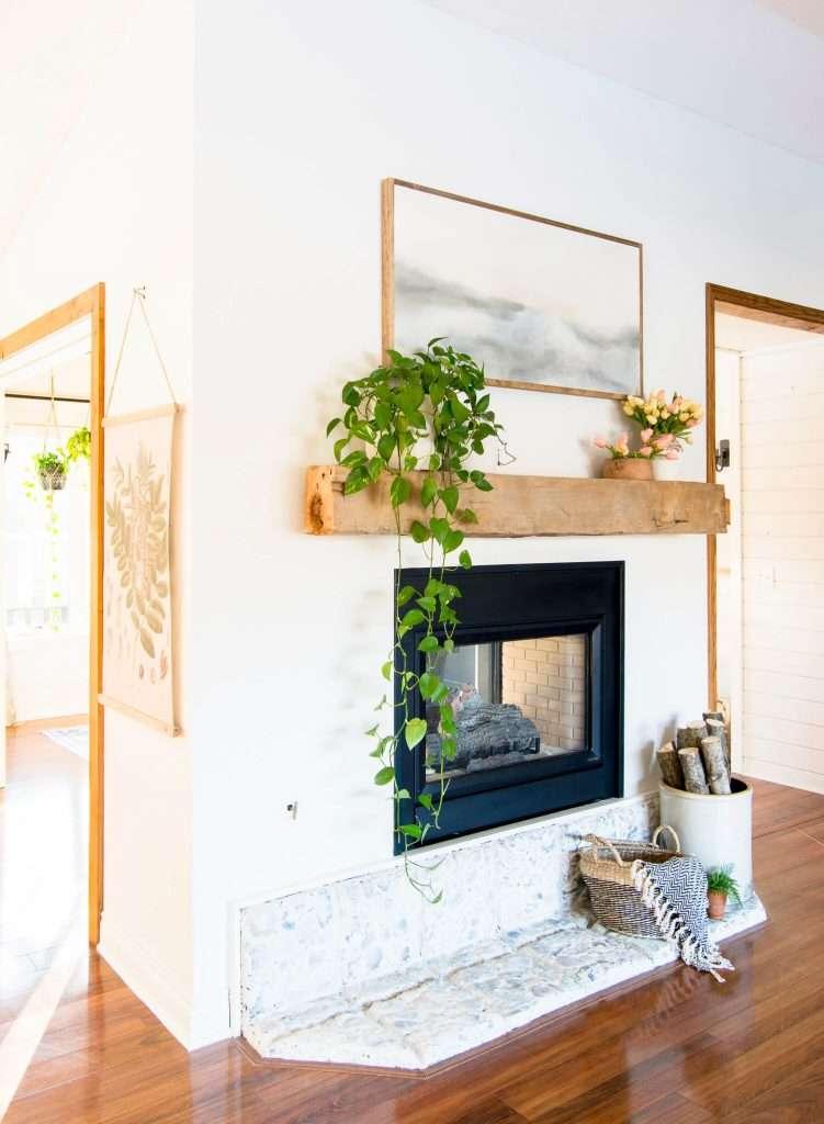 Spring mantel design and decor.