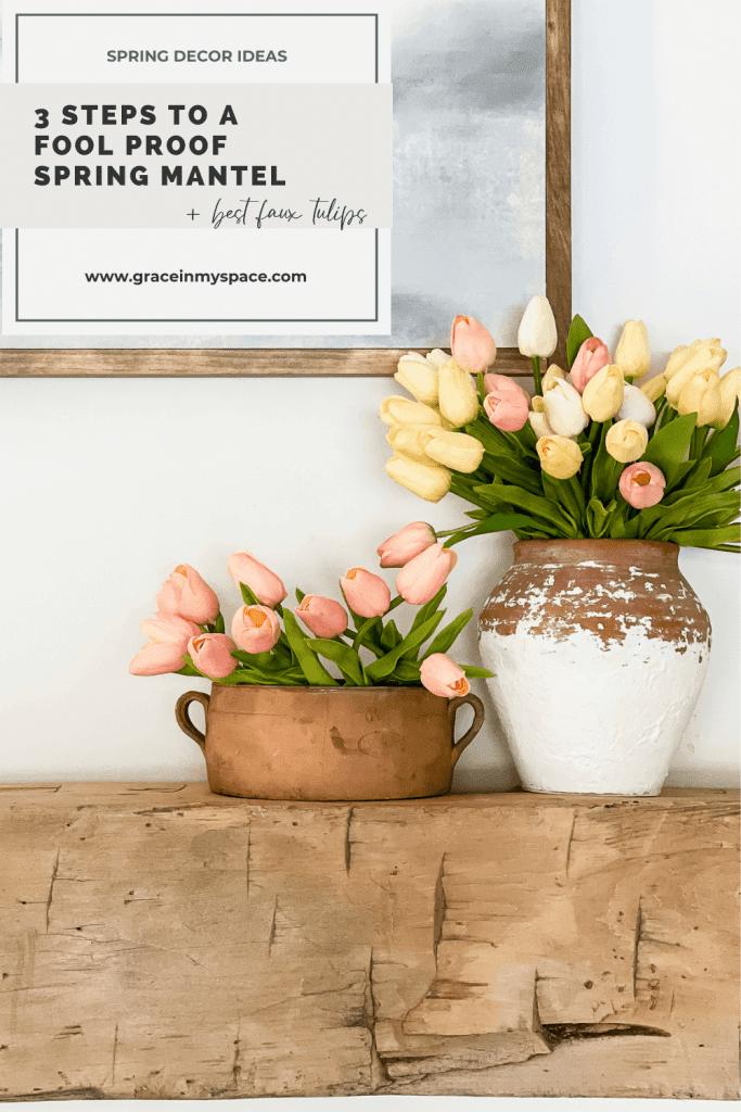 Vase of tulips pinterest image.