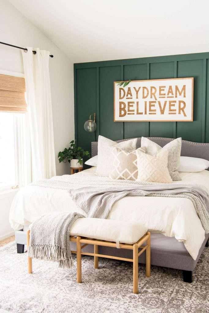 Modern farmhouse spring decor in a bedroom