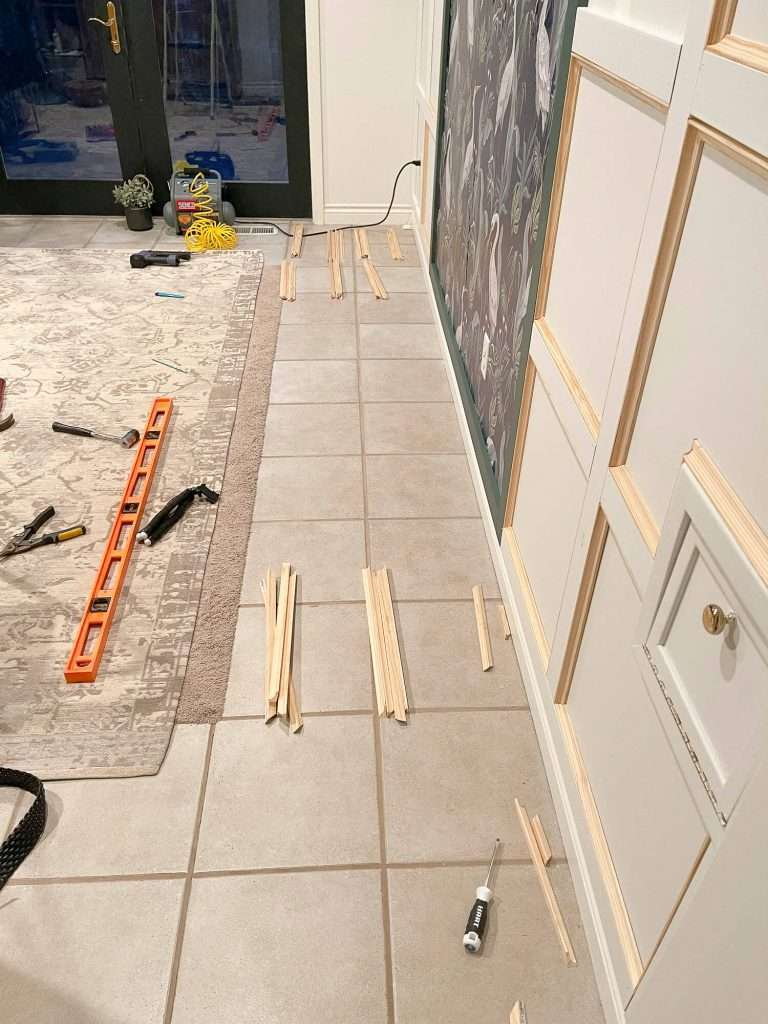 Cut cove moulding for full wall wainscoting