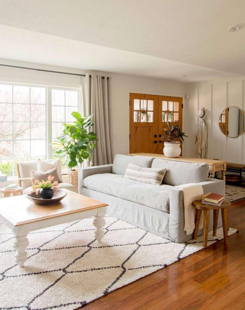 Slipcover sofa in a modern boho living room.