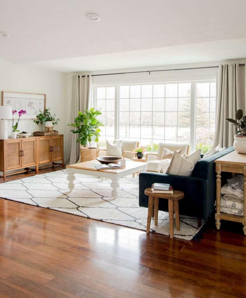 Velvet sofa in a modern bohemian living room