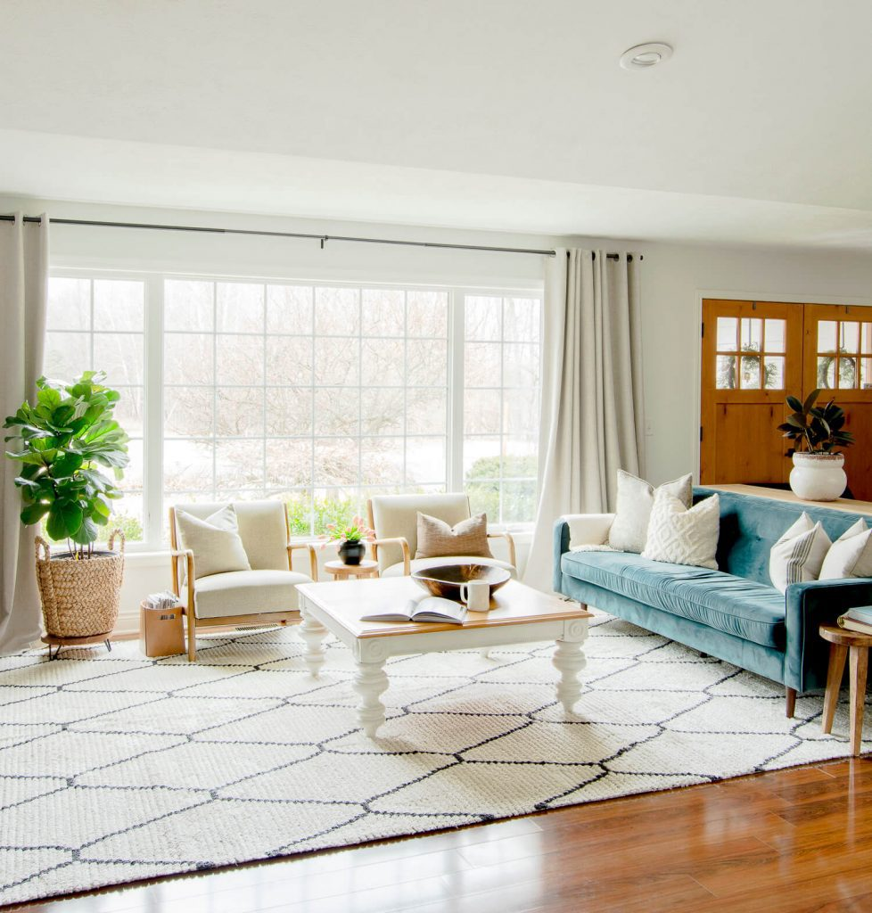 Modern boho living room sofa.
