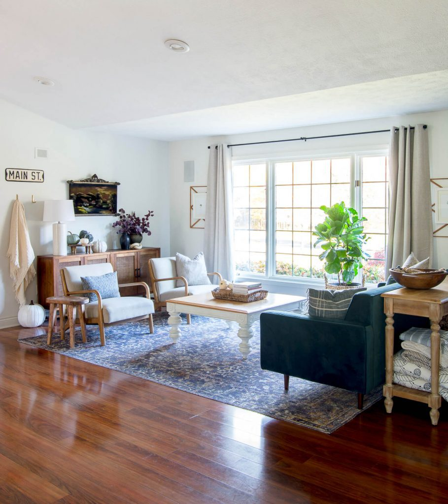 Rich wood tones in a living room