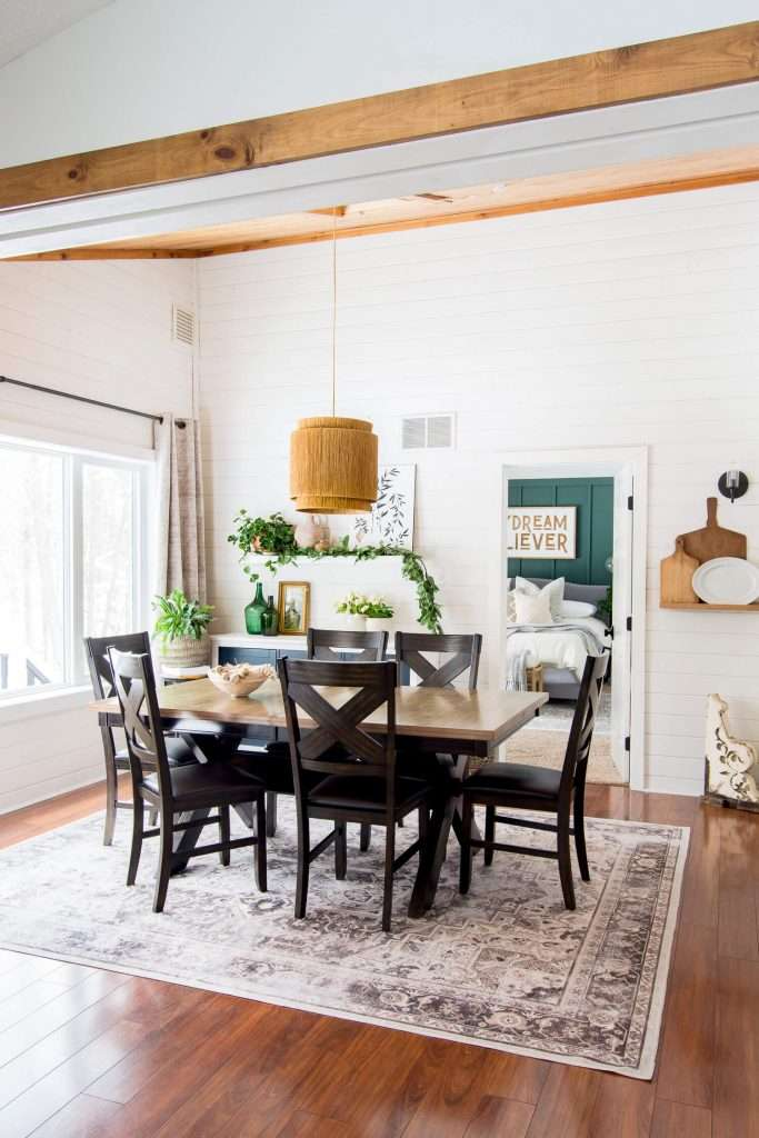 Modern farmhouse spring decor with pops of color