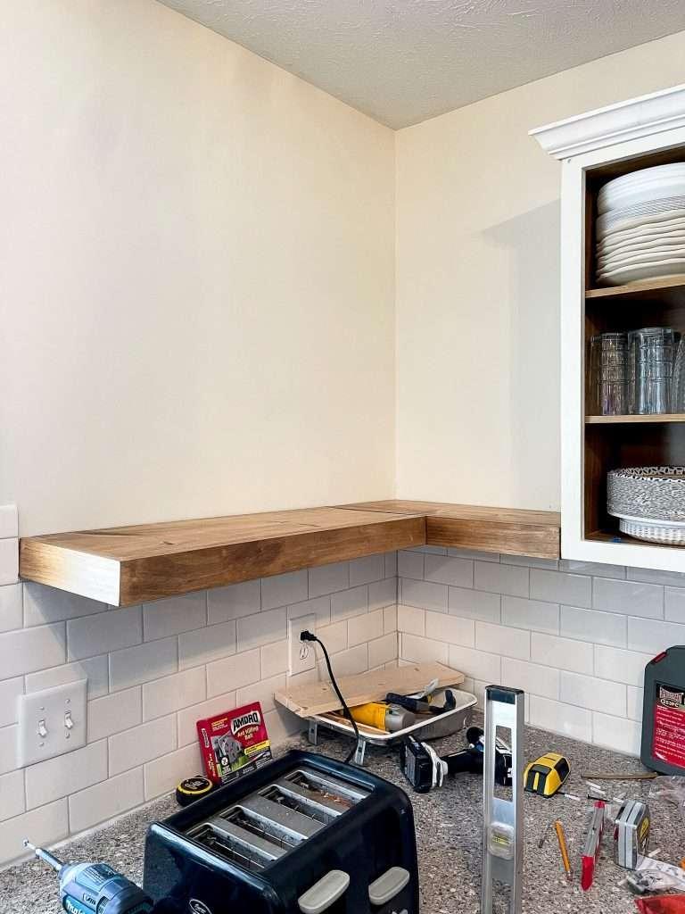 Corner kitchen shelves.
