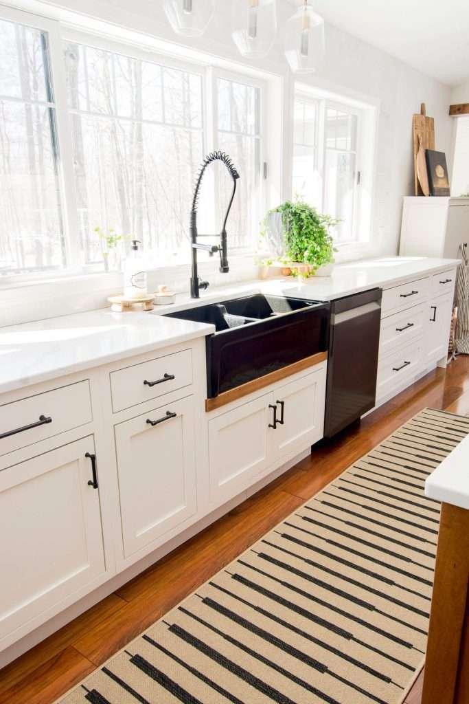 Open windows in a kitchen