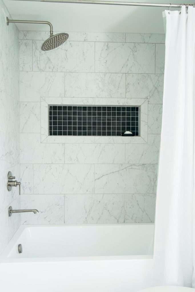 Carrara marble Tile shower stall