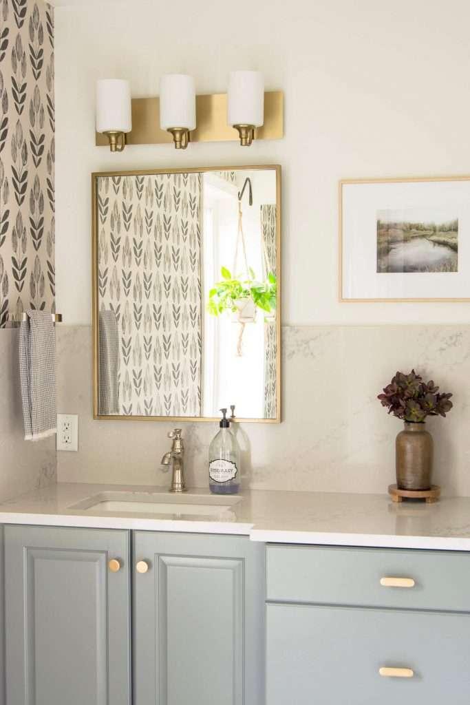 Bathroom vanity with quartz countertops.