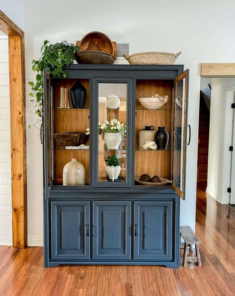 China hutch filled with pottery