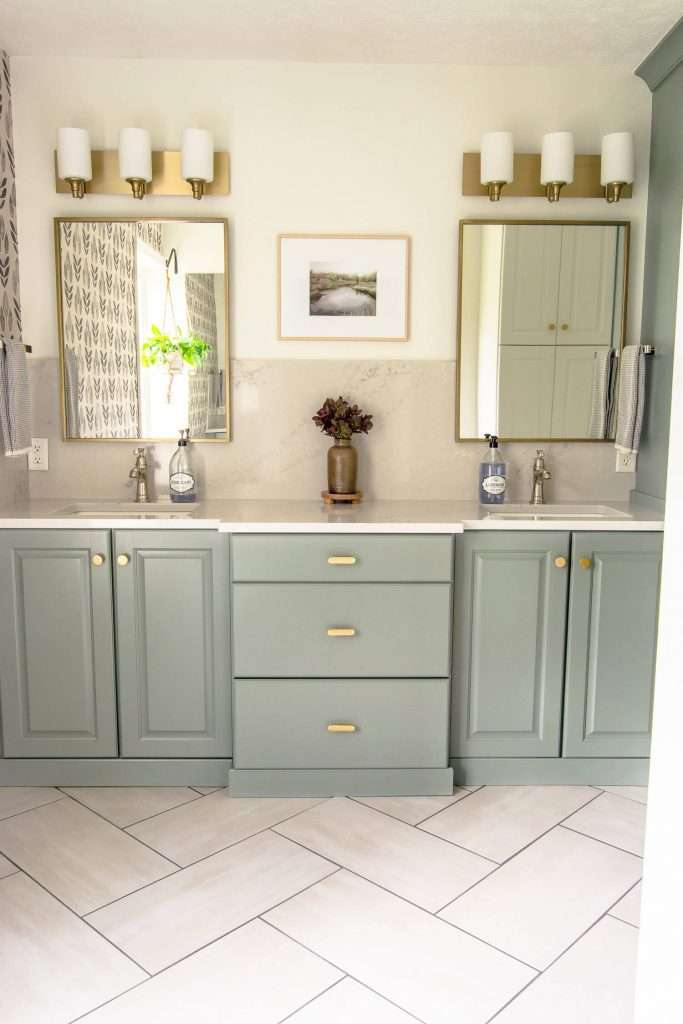 Bathroom vanity with mirrors and lighting