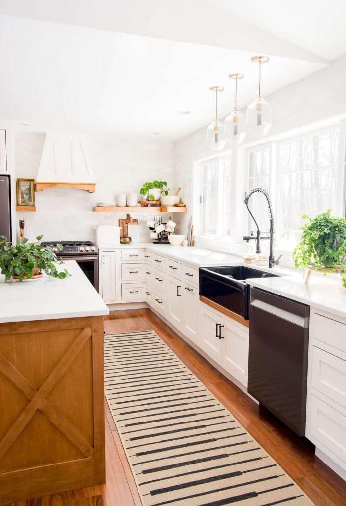 Jute rug in a kitchen.
