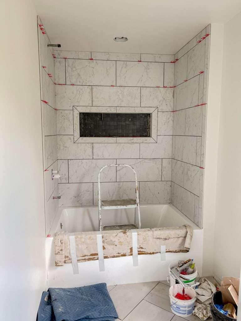 Tile shower installation progress
