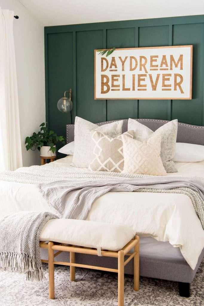 linen bedding in a master bedroom