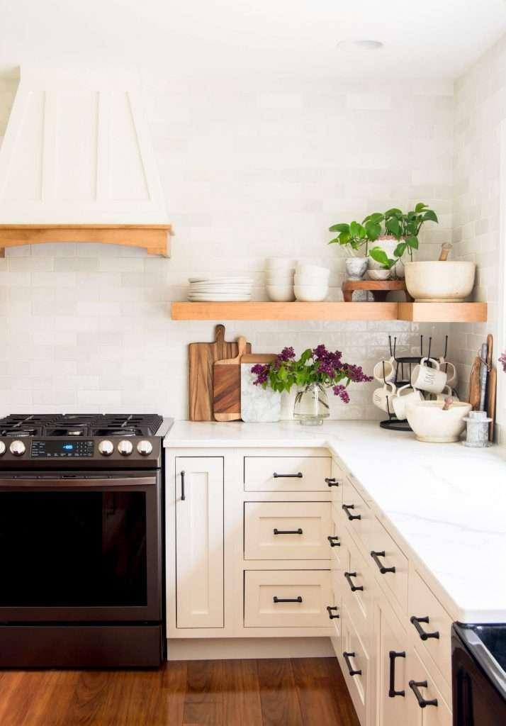 floating shelf in a kitchen corner