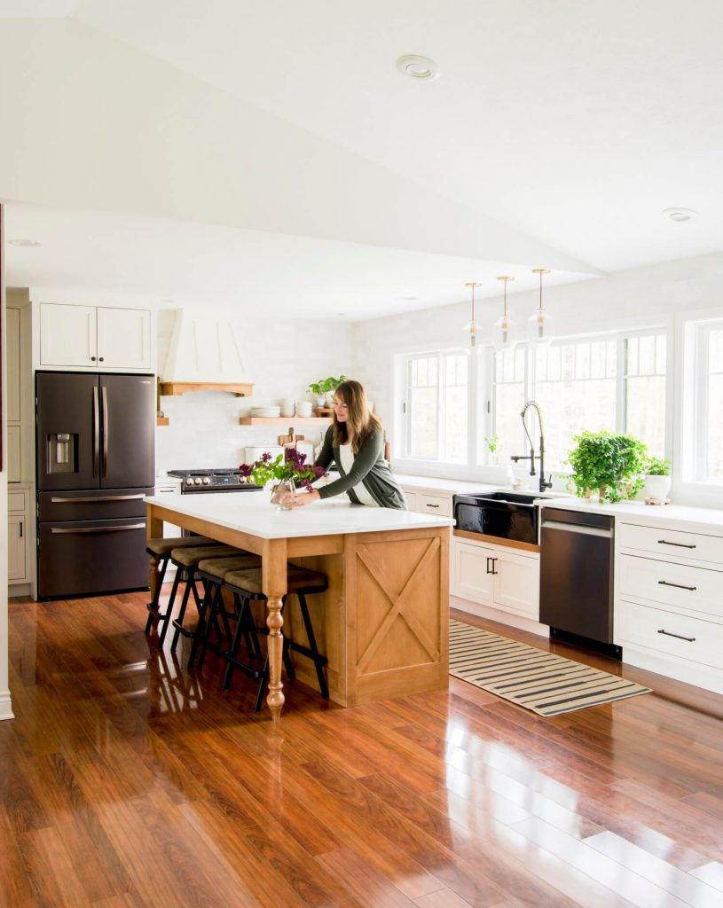 Wood island in a kitchen