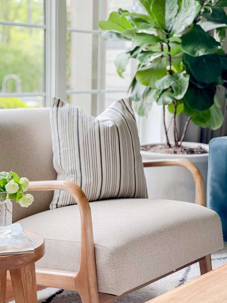 Accent chair with pillow and houseplant.