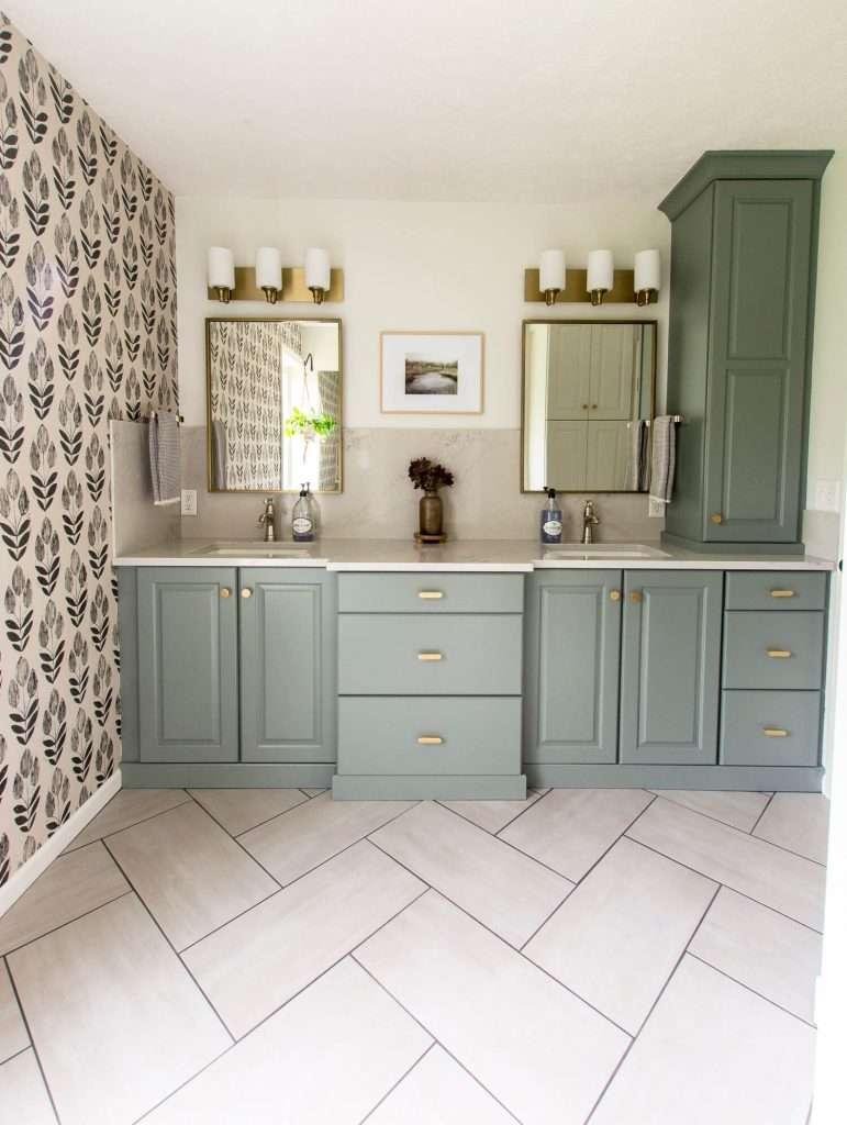 bathroom vanity with mixed metal bathroom finishes