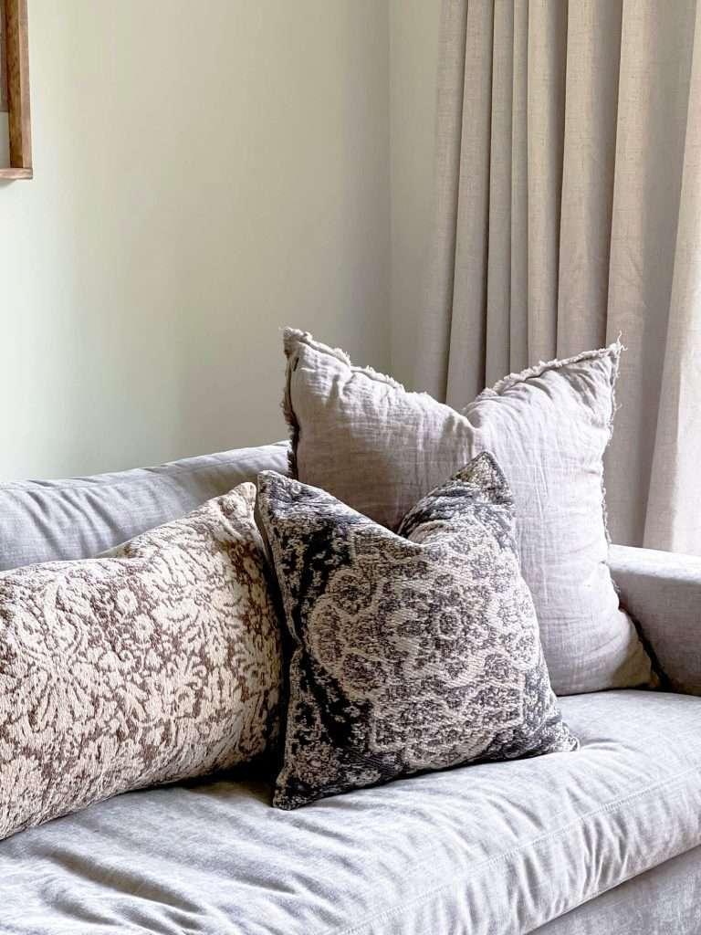 Vintage pillows on a sofa