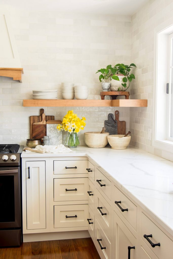 Open shelving with decor