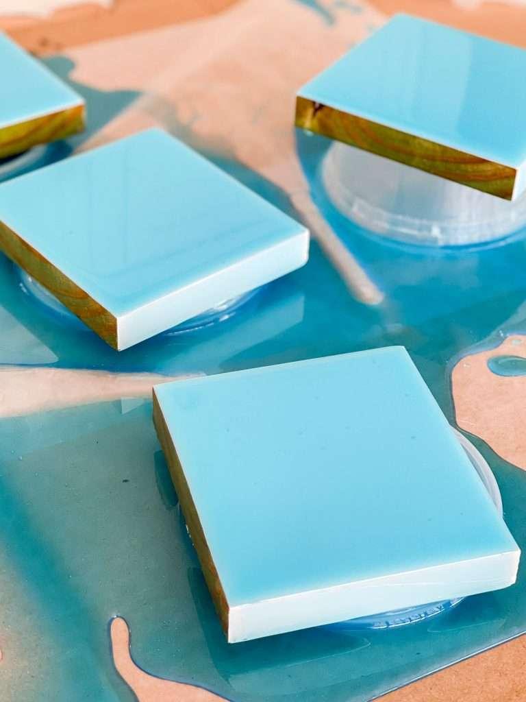 Turquoise epoxy coasters