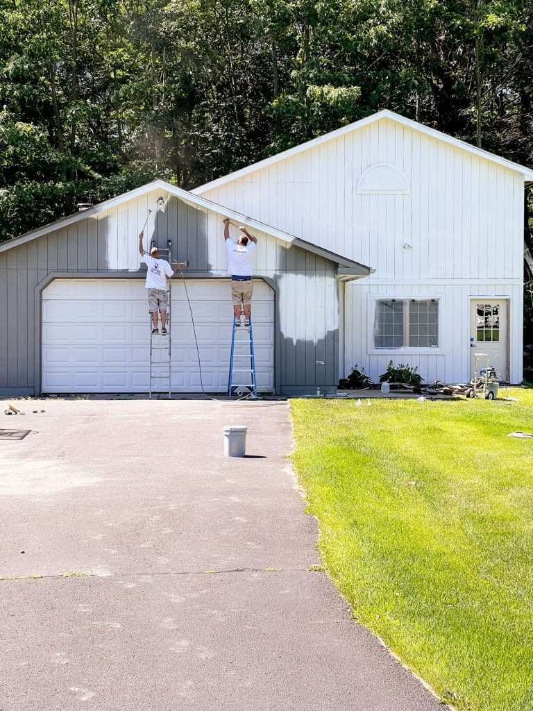 Painting a barn exterior white