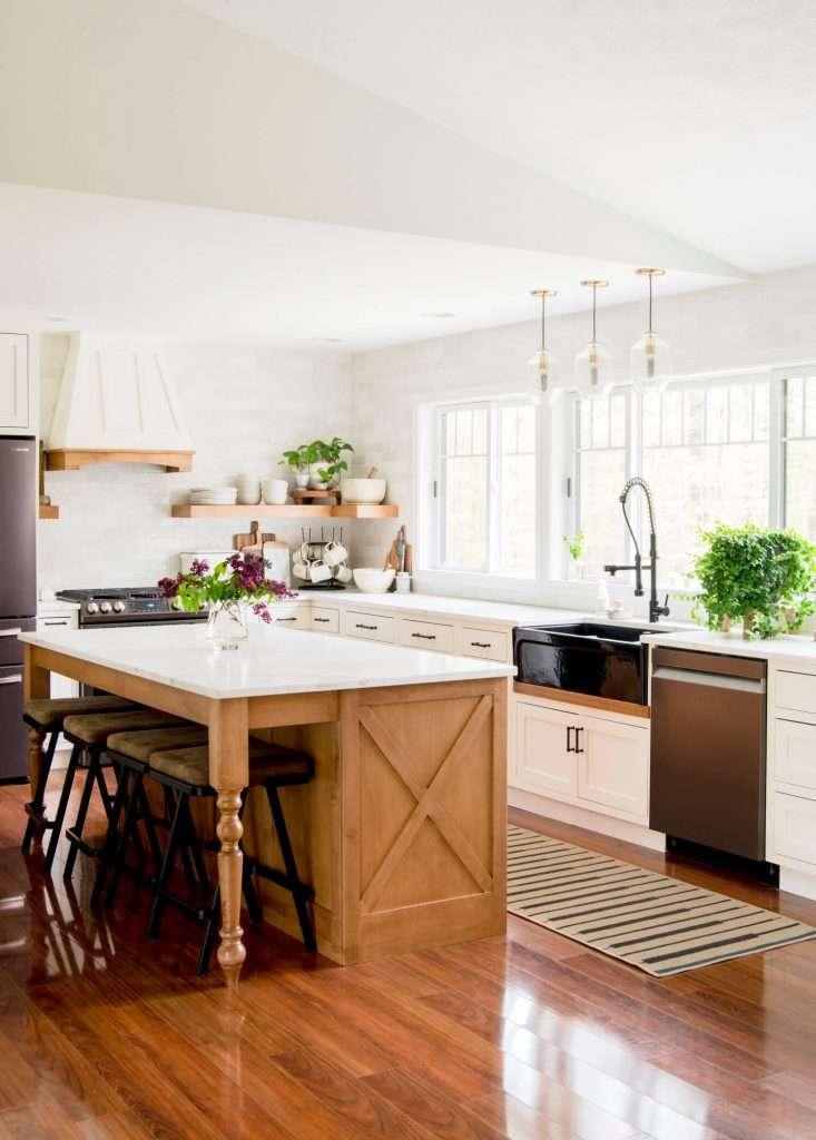 Kitchen island in a simple modern farmhouse kitchen.