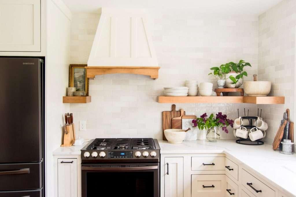 Kitchen styling on open shelves.