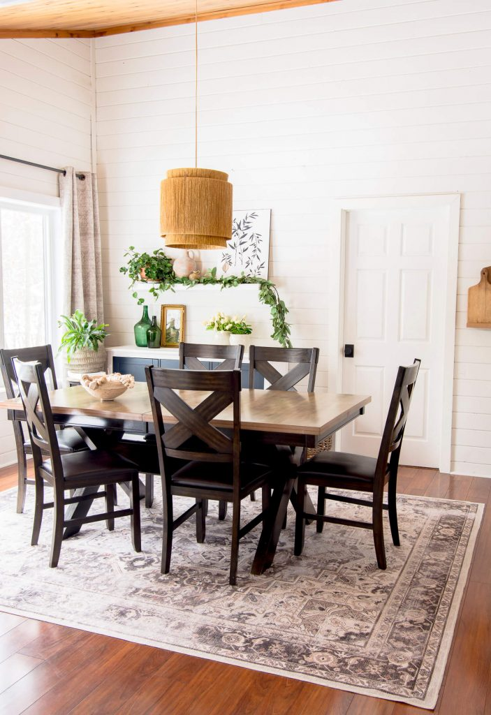 Washable rug in a dining room.