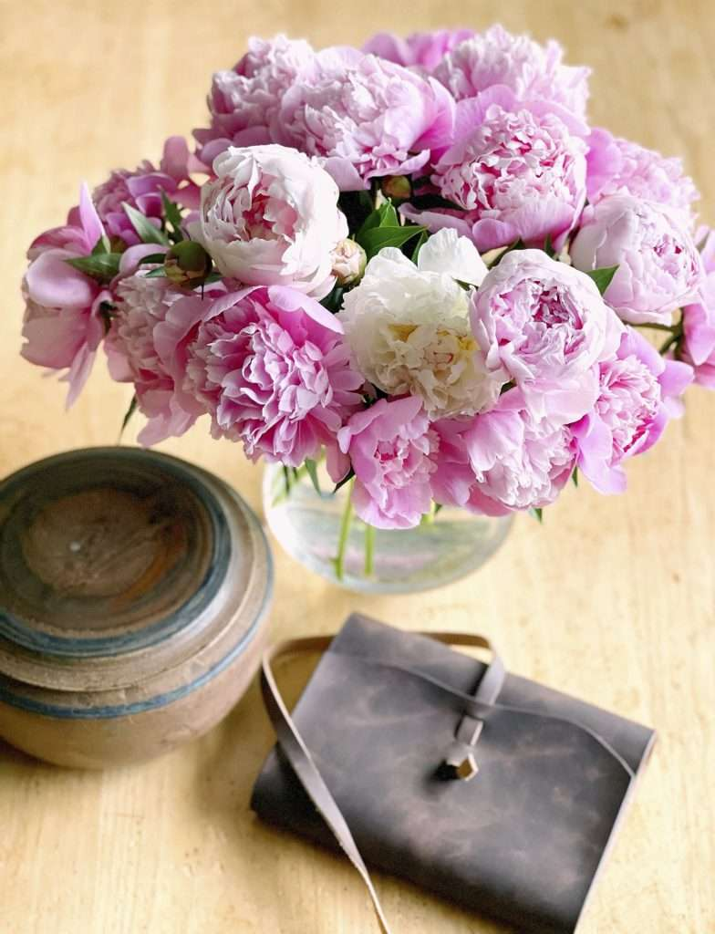 Summer journal with peonies.