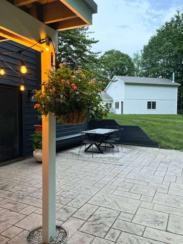 Outdoor twinkle lights in the backyard