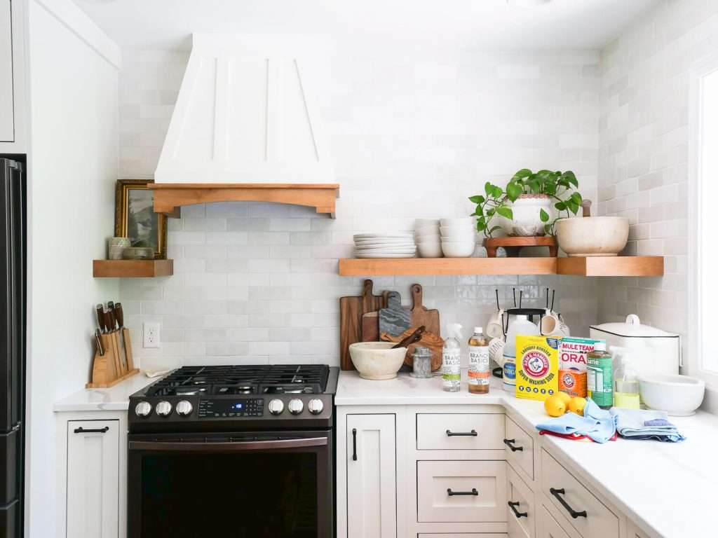 Organic cleaners in a kitchen