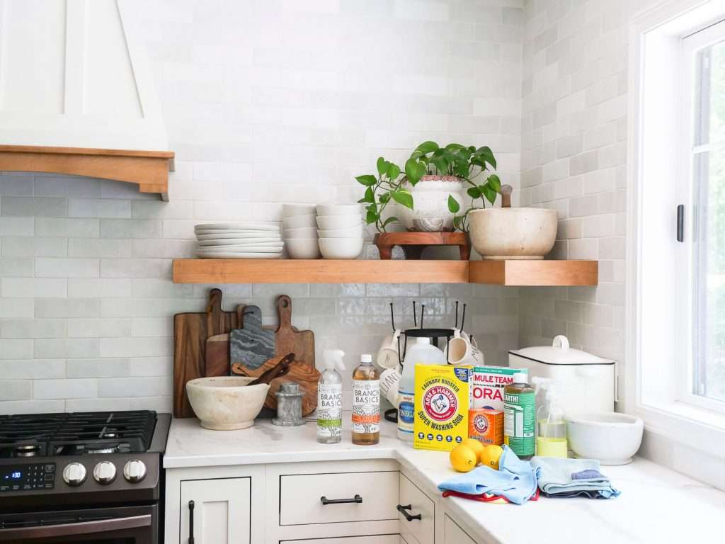 Organic cleaning supplies in a kitchen