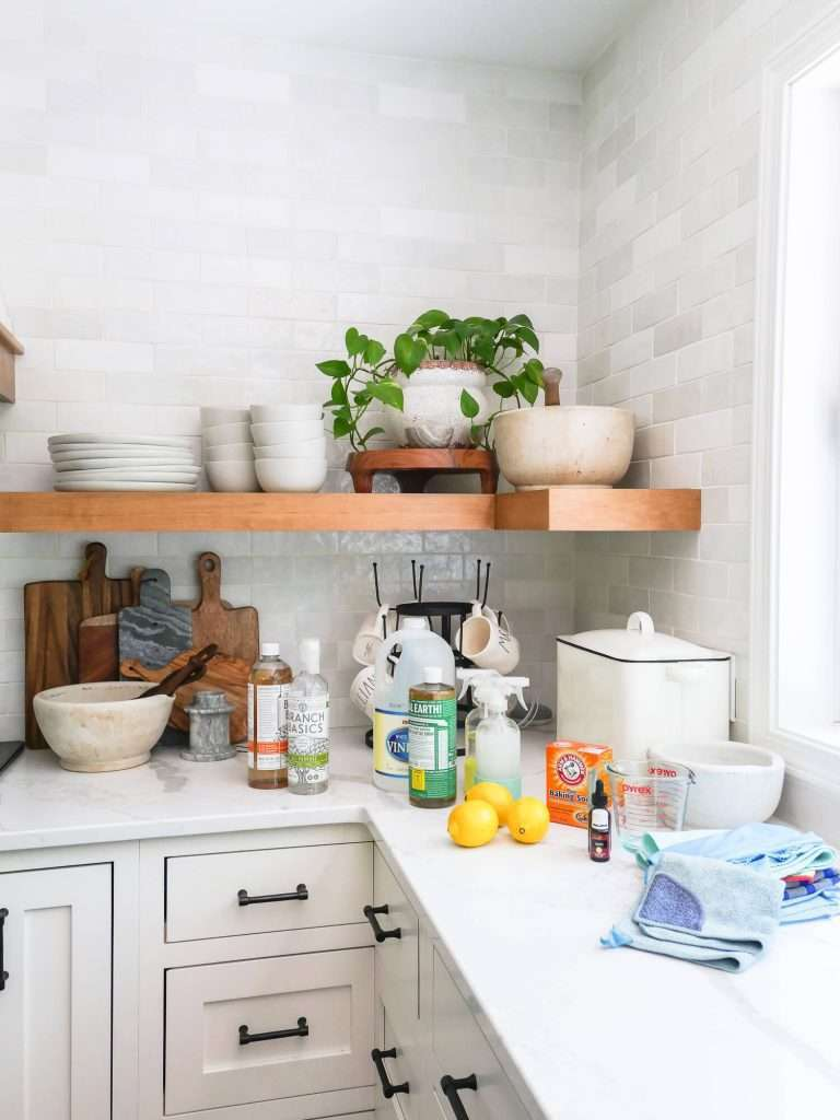 organic cleaners and ingredients on a counter