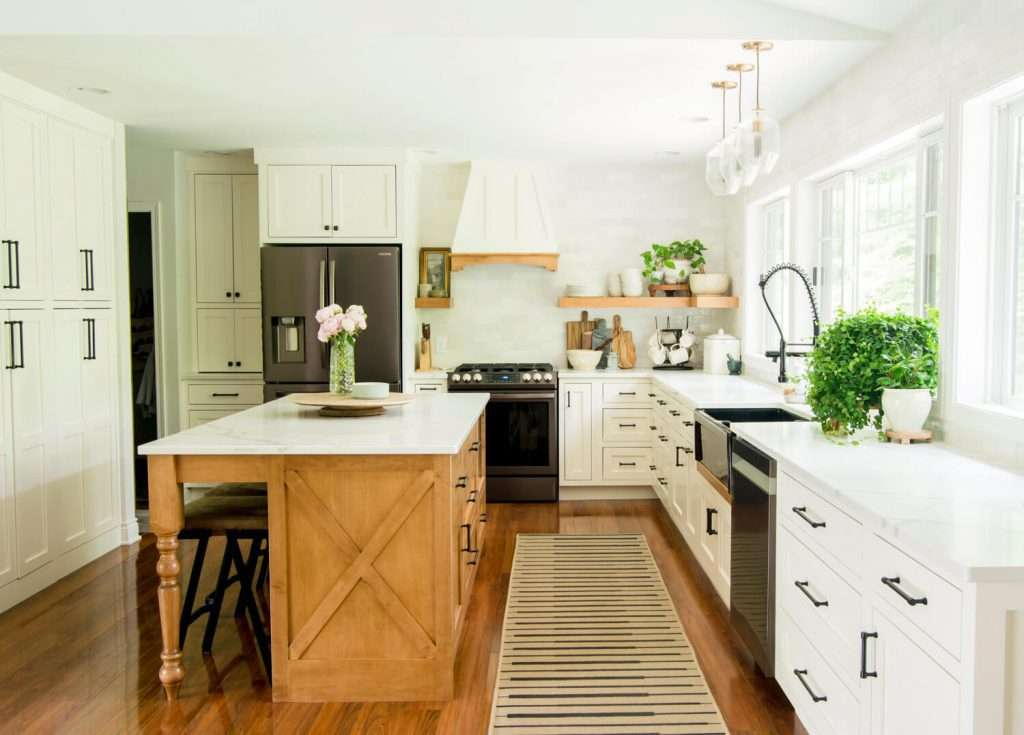 Full kitchen with wood island
