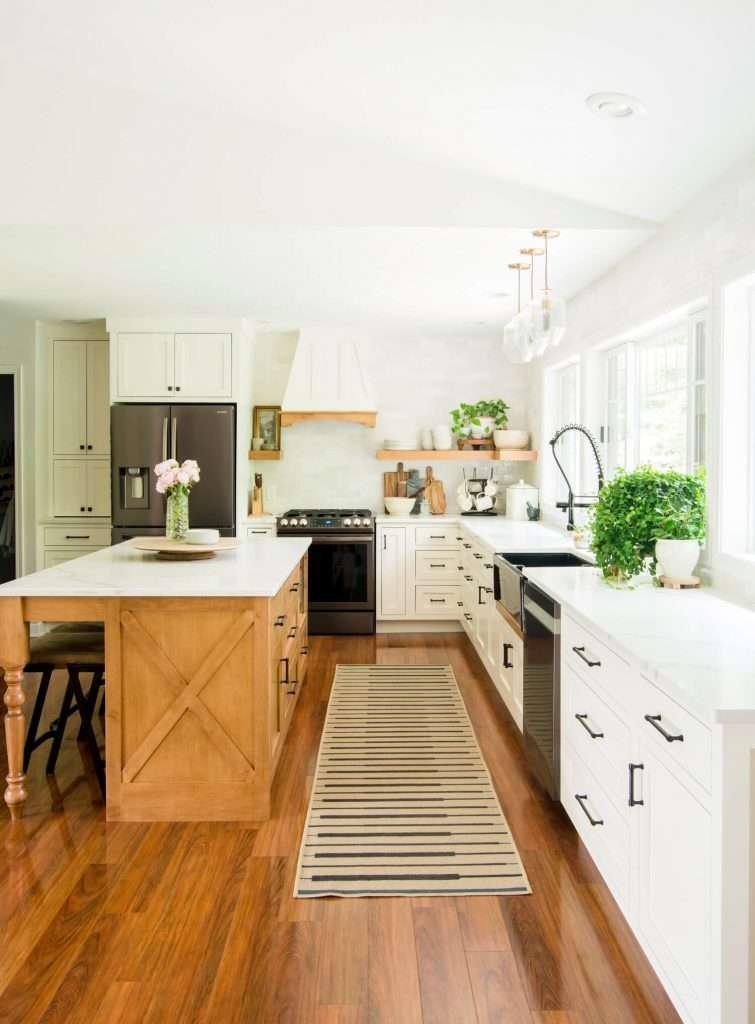 Wood island in modern farmhouse kitchen.