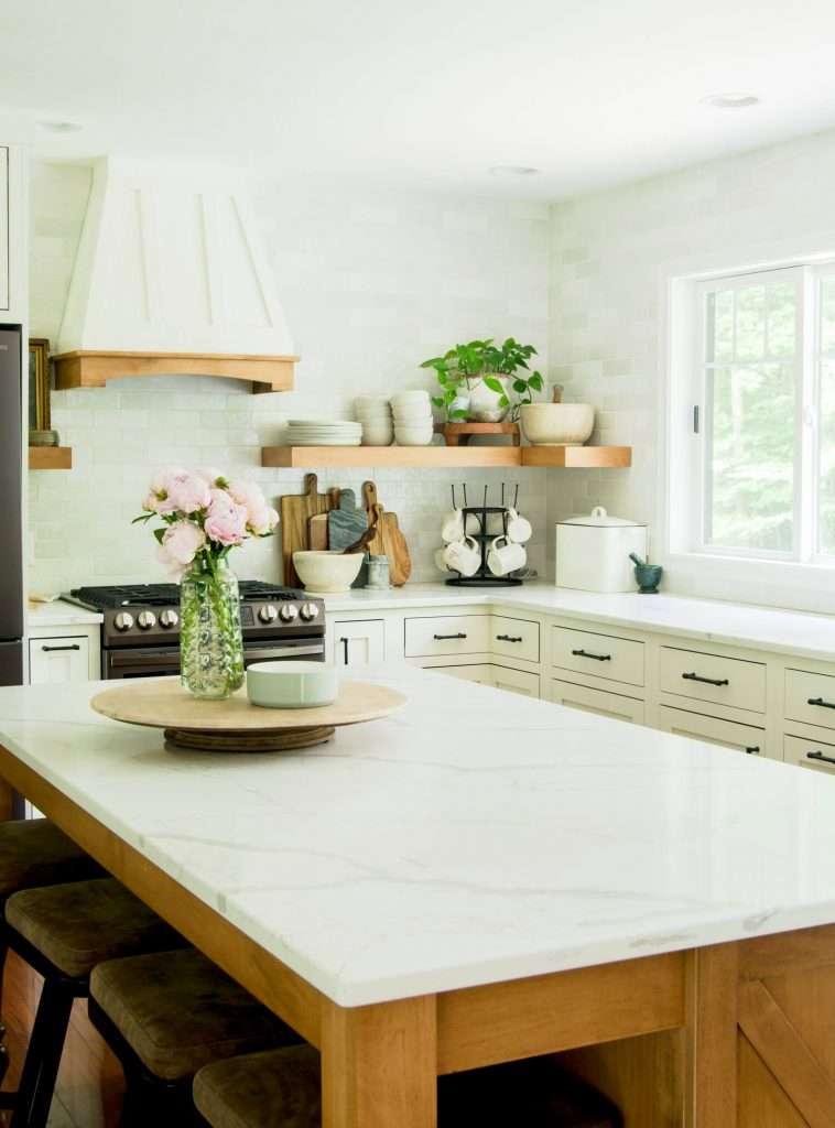 Wood piece on a kitchen island