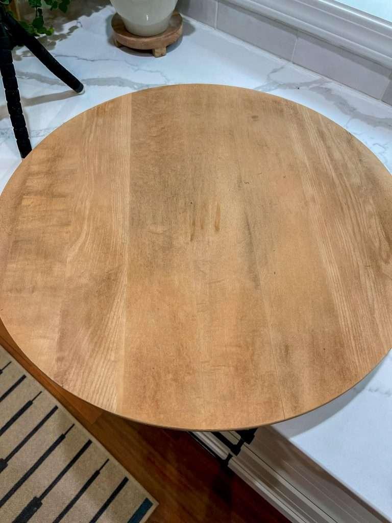 Wood lazy susan after sanding