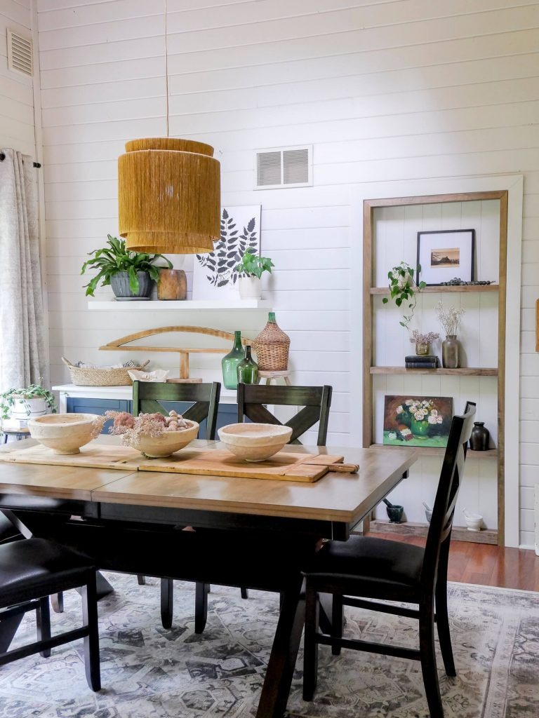 Dining room with custom built ins