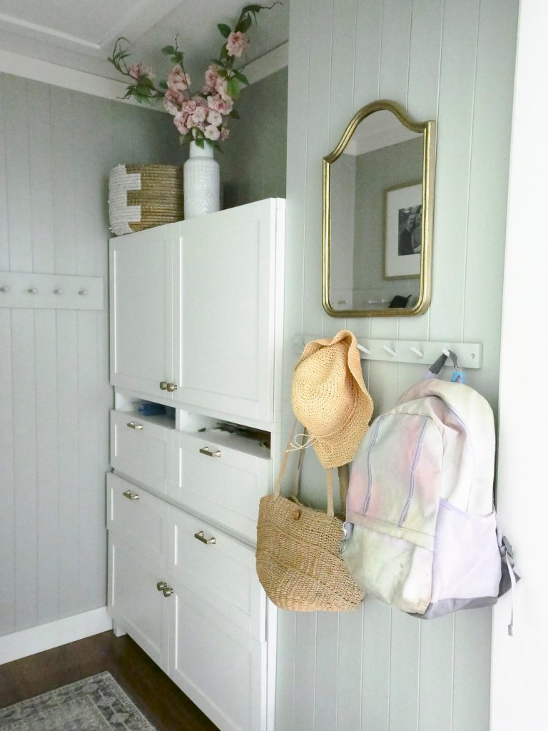 Backpack in a mudroom