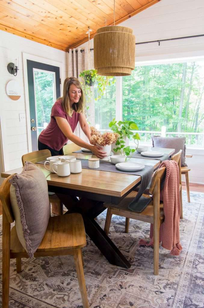 fall decorating on a dining table
