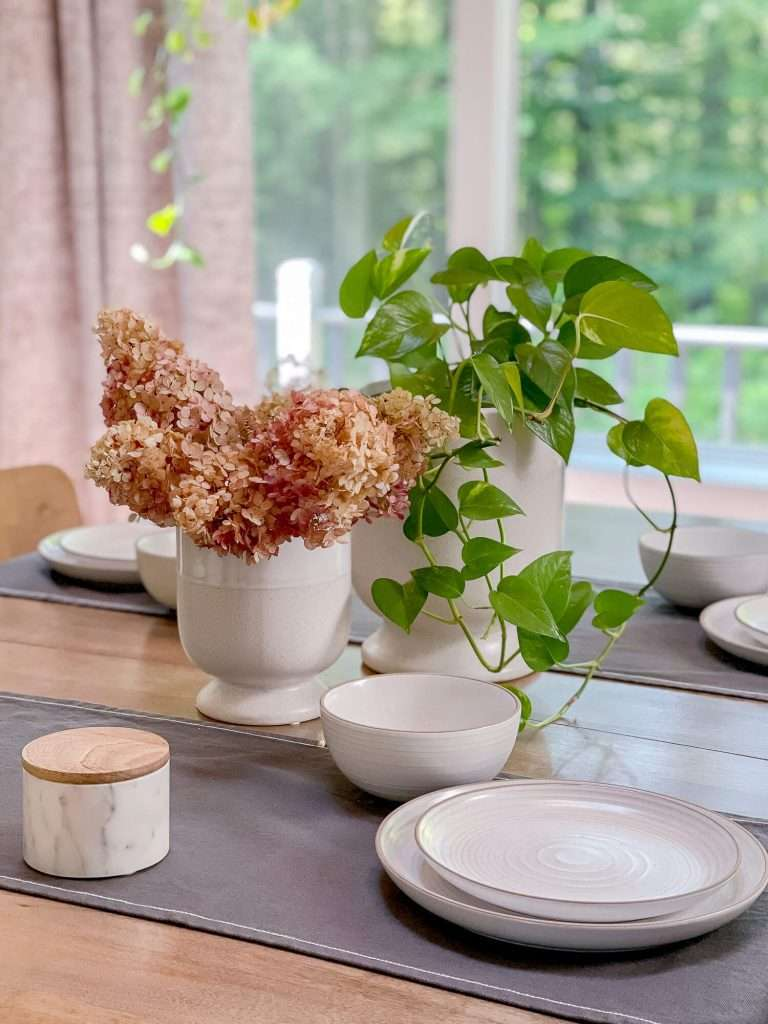 Dried hydrangeas on a dining table